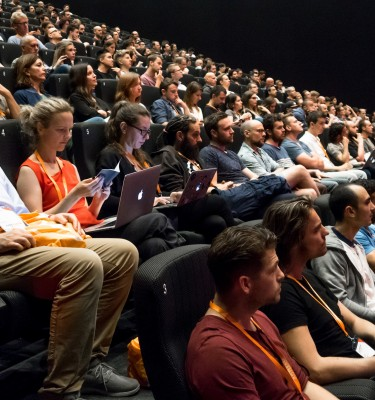 Frontend United attendees in the cinema